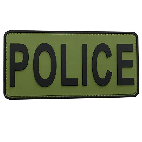 uuKen OD Ranger Green PVC Police Patch Big Size 6x3 inches Hook Fastener for Police K9 Unit Dept Tac Tactical Vest Collar Bag Backpacks (OD Green and Black, M 6'x3')
