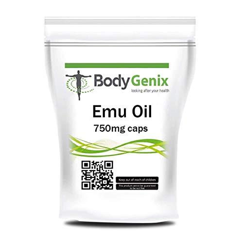 Emu Oil 750 mg Capsules Bodygenix UK Made Natural Emu Fat Arthritis Supplement (120)