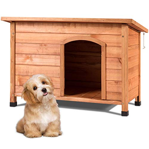 Tangkula Dog House, Outdoor Weather-Resistant Wooden Log Cabin,...