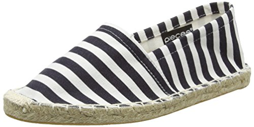 PIECES Damen HAISHA Espadrillos Stripes WHT Espadrilles, Mehrfarbig (Navy Blazer), 36