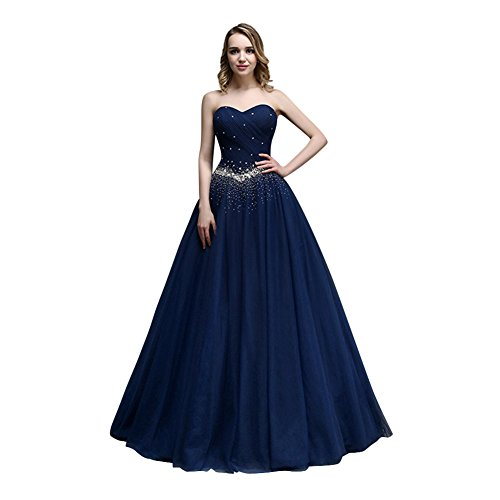 KAIDUN Damen Lange Tuell Abendkleid Ballkleid Party Kleider Navy Blue 38