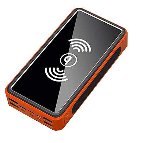 Banco De Energía Solar De 30000Mah, Tesoro De Carga Inalámbrica 4 Salidas USB 3 Entradas Paquete De Baterías De Alta Capacidad LCD LCD (2 PCS),Naranja,20000mAh