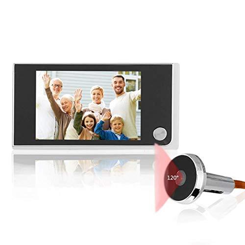 3.5 Pulgadas Videoportero, Sistema de Timbre Inalámbrico con Cámara de Seguridad LCD Digital, Intercomunicador de Video de Doble Vía, Visor de Mirilla de 120 Grados para Villa Casa Oficina