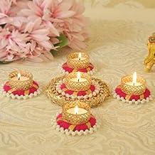 TIED RIBBONS Diwali Candle Holder Set - Floral Floating Tealight Candle Holders Set Diwali Decoration Item (Pack of 5)
