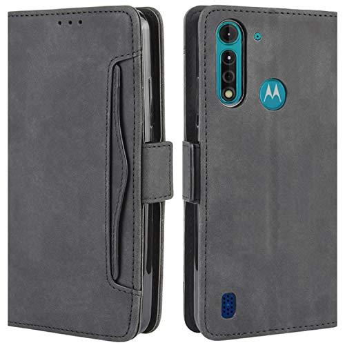HualuBro Handyhülle für Motorola Moto G8 Power Lite Hülle Leder, Flip Hülle Cover Stoßfest Klapphülle Handytasche Schutzhülle für Motorola Moto G8 Power Lite Tasche (Schwarz)