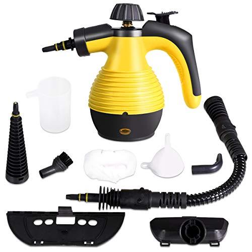 GOPLUS Mehrzweck Dampfreiniger, Handdampfreiniger mit 350 ml Wassertank, 3 Bar, 1050 W, 3-5min Aufheizzeit, mit 9 Zubehörteilen für Fleckenentfernung von Teppich Vorhang Autositz Küche (Gelb)