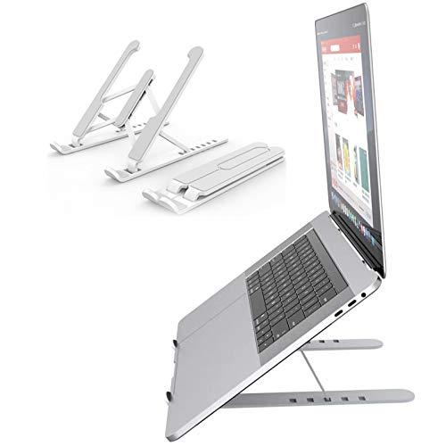 WSZOK Soporte para ordenador portátil plegable portátil de escritorio soporte de ordenador portátil ABS de silicona de altura ajustable para portátil de montaje vertical estable PC