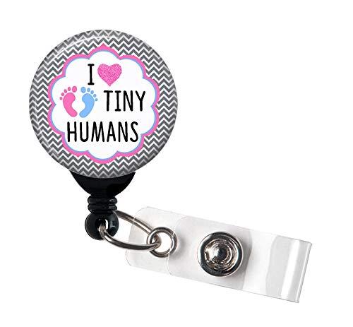 Retractable Badge Reel - I Love Tiny Humans Chevron - Badge Holder Labor Delivery/OB Nurse/Pediatric NICU