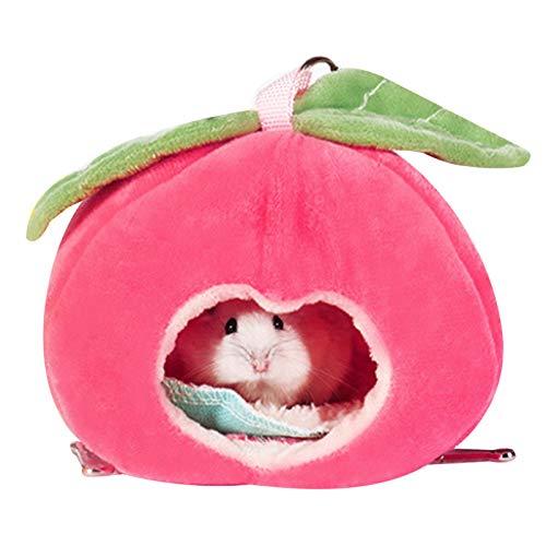Souarts Hängebett Hamster Kuschelbett zubehör Süße Frucht Kleintiere Hängematte käfig Schlafnest Bettkäfige Spielzeug(Apfelrot,10x15x11cm)