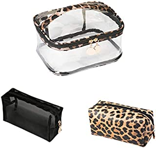 SODIAL 3Pcs Ladies Leopard PVC+PU Cosmetic Bag Travel Waterproof Beauty Makeup Toiletry Storage Case Lipsticks Holder Organizer Accessories