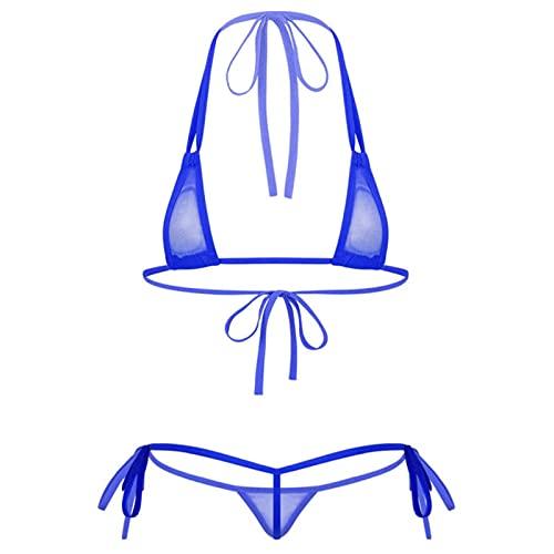YQHWLKJ Conjunto de lencería Transparente para Mujer, Traje de Bikini, Traje de baño Triangular, Sujetadores de Malla con Tirantes y Cuello Halter, Tanga, Azul Real, Talla única