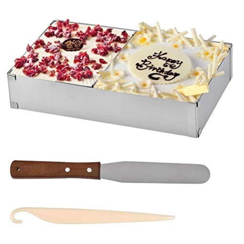 Cadre Patisserie Rectangulaire Réglable Moule à Mousse Set 4PCS Moule Gâteau, Anneau Réglable pour Gâteaux Rectangulaires, 25-48cm x 15-28cm YANSHON Acier Inox, avec 2 Spatules Crème + 1 Couteau