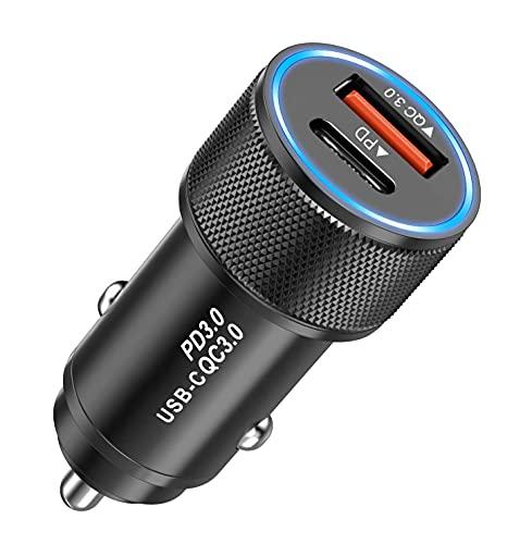 KP TECHNOLOGY Cargador de coche USB C 18 W PD QC 3.0 adaptador de coche rápido cargador de coche compatible con Samsung Galaxy A22 5G