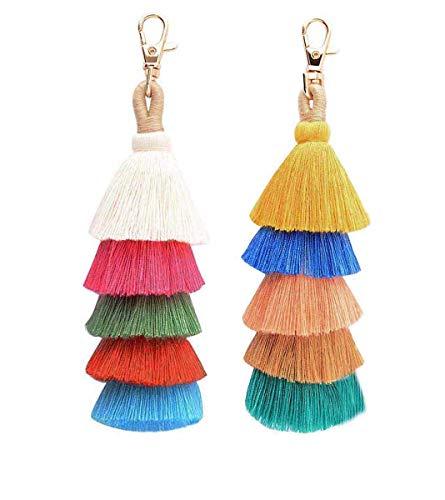 SHAWINGO Llavero de borlas bohemias de colores, 2 unidades - - talla única