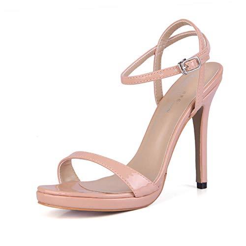 Damen Sandalen Sommer New Perlglanz Lack Einfache Party Fischkopf Damenschuhe Stiletto High Heels-37 (Absatz 12cm, Wasserplattform 1cm), Hellrosa