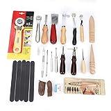 Juego de herramientas de artesanía de cuero profesional de 20 piezas Kit de perforación de costura de trabajo de costura manual de bricolaje