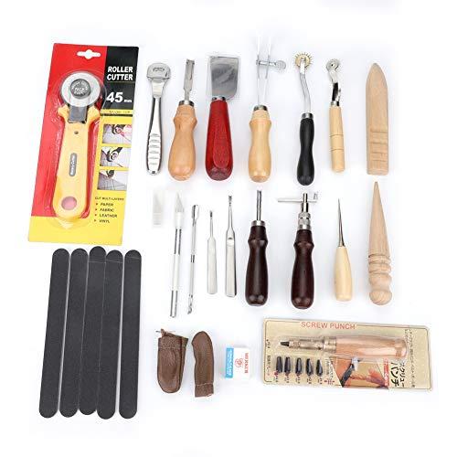 Juego de herramientas de artesanía de cuero profesional de 20 piezas Kit...