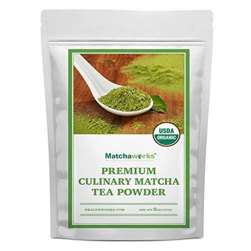 Matchaworks Matcha Green Tea Powder Unsweetened (8 Ounces) | Pure Certified Organic Premium Culinary Grade Extract | Keto, Vegan & Non-GMO | Smoothies, Lattes & Ice Cream