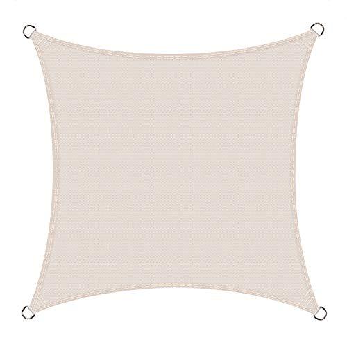 Cool Area Toldo Vela de Sombra Cuadrado 2.5 x 2.5 Metros Protección Rayos UV, Resistente y Transpirable para Patio Exteriores Jardín, Color Crema