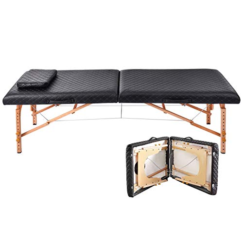 Portable Massage Bed with Carrying Case, 72 in Professional Massage Table with Headrest and Wooden Frame, 2 Folding Sections, Adjustable Height 50-78cm, Load-Bearing 550 Lbs, for Beauty Salon Tattoo