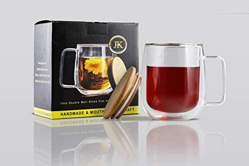 HANDMADE MOUTH BLOWN 16 OZ DOUBLE WALL GLASS MUG WITH HANDLE BAMBOO LID by JKglobal ELEGANT product image