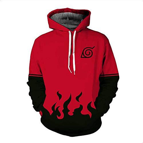 ZXRYF Naruto Cosplay Sweat-Shirt À Capuche 3D Impression Hooded Sweatshirt Manches Longues Sweat Capuche Cadeaux d'automne Et d'hiver Convient pour Enfants Les Hommes Et Les Femmes,Rouge,5XL