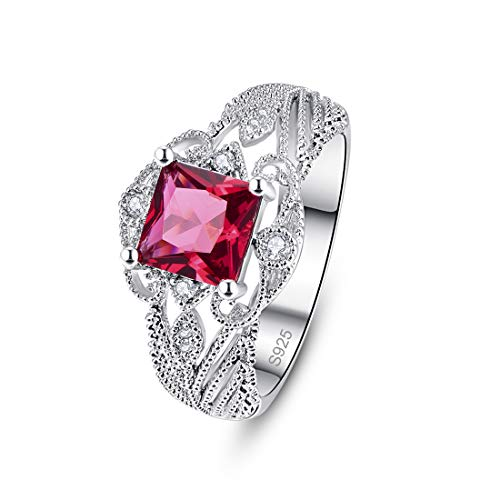 PAKULA 925 Sterling Silver Women Princess Cut Simulated Ruby Filigree Leaf Band Engagement Ring Size 7