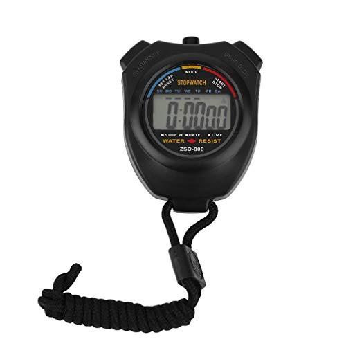 Cronómetro de Mano Digital LCD cronómetro Deportivo cronógrafo Contador Temporizador (Negro)