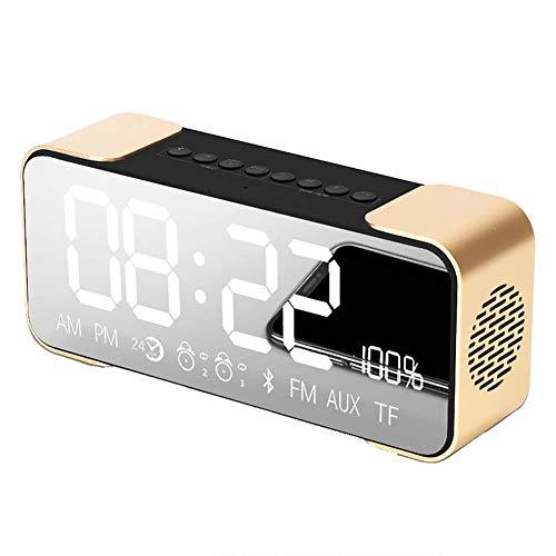 bluetooth speaker Portable 4.2 sans Fil Mini Soundbox Basse Subwoofer Haut-Parleur StéRéO 10w Miroir LED HD + RéVeil + Radio FM pour La Maison, La Voiture, Les Voyages en ExtéRieur Or Rose/Bleu