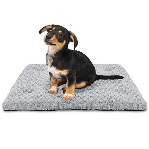 SIWA MARY Dog Bed Crate Pad Mat 30/36/42 in Anti Slip Washable Mattress Pets Kennel Pad for Large Medium Small Dogs Sleeping (23'' x 18'', Grey)