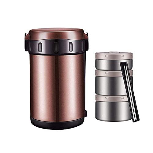 Caja de almuerzo aislada de almuerzo de acero inoxidable 1.8L Caja de almuerzo aislada de vacío, sellado y fugas, rack de 3 capas portátil y reutilizable, se puede usar para el almuerzo, los viajes, e