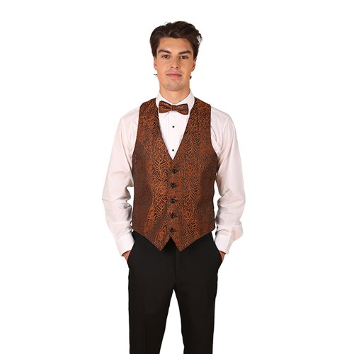Men's Brown Tiger & Leopard Print Vest and Bow Tie Set-X-Large