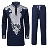 YND Men's 2 Piece Set African Long Sleeve Dashiki Shirt and Pants, Traditional Pattern Outfit with Classic Gold Print, Tribal Afro Suit for Weddings and Parties, Navy with Silver