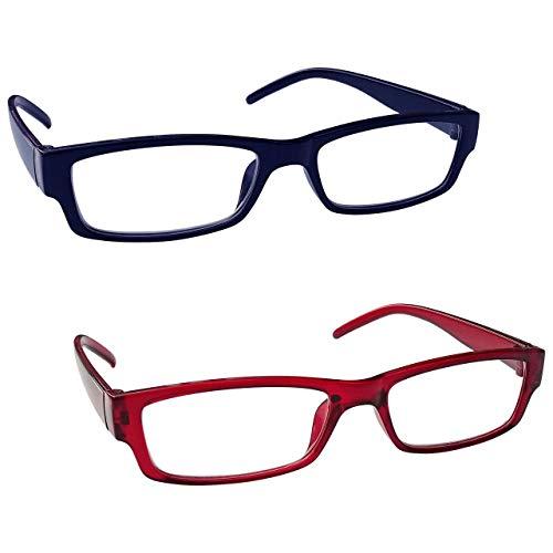The Reading Glasses Company Die Lesebrille Unternehmen Leicht Leser Wert 2er-Pack Herren Damen RR32-3Z +2, 00, dunkelblau/rot, 2 Stück