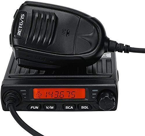 Retevis RT98 Transceptor Móvil 199 Canales CTCSS/DCS DTMF VHF Mini Two Way Radio Móvil con Micrófono (Negro)