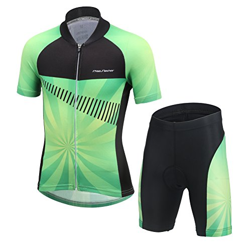 FREE FISHER Cycling Jersey Kids,Short Sleeve Cartoon Road Mountain Bike Jersey Set/Top/Short for Girls Boys Breathable,Set Green,9-11 Years