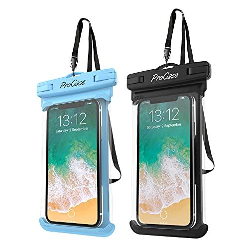 ProCase 2 Fundas Impermeables para Celulares como iPhone 12 Mini/Pro/Pro MAX/SE 2020/X/8 7 Plus/6S/6/6S Plus,Galaxy S20/S20+/S20 Ultra 5G/S9/S8 Plus/Note, Huawei Xiaomi Móviles hasta 6.9'-Negro+Azul