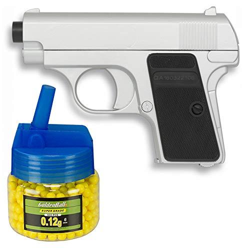Tiendas LGP, Albainox 38281 Arma Airsoft, Pistola Aire Suave, Potencia 0,8 Julios + Biberón 500 Bolas 6 mm. de Regalo