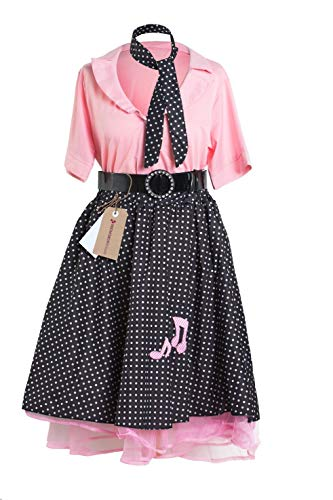 Costume rock and roll années 50 par Emma's Wardrobe - Inclut: Jupe à pois, chemise rose, ceinture noire et foulard - Tailles 36 à 46) (Femme 36) - Medium