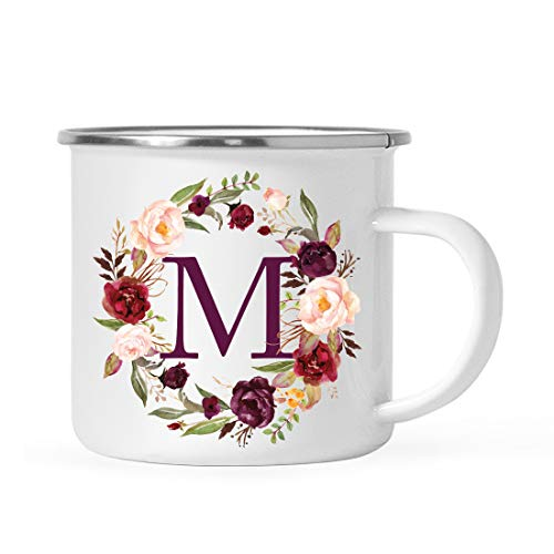 Andaz Press Stainless Steel 11oz. Campfire Coffee Mug Gift, Fall Autumn Burgundy Marsala Floral Wreath Monogram Initial Letter M, 1-Pack, Christmas Birthday Camping Camp Cup, Includes Gift Box