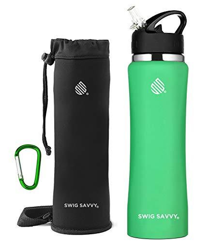 SWIG SAVVY Bottiglia d'Acqua in Acciaio Inox coibentato Bocca Larga 24Oz / 32Oz Design a Doppia Parete con Paglia di Vibrazione Anti Sudore cap - o (Aqua Fresca, 32)