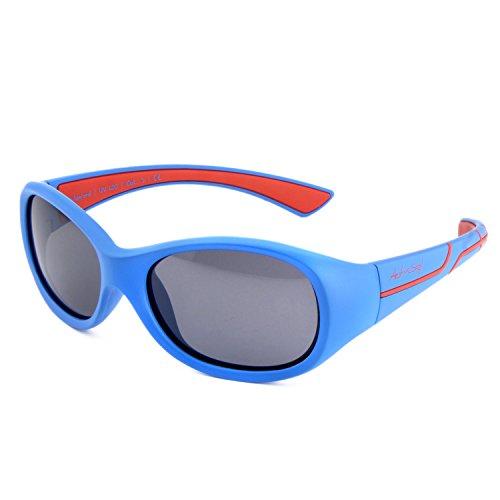 ActiveSol Kids @School Kinder Sport-Sonnenbrille | Mädchen und Jungen | 100% UV 400 Schutz | polarisiert | unzerstörbar aus flexiblem Gummi | 5-10 Jahre | nur 22 Gramm (Blau/Rot)