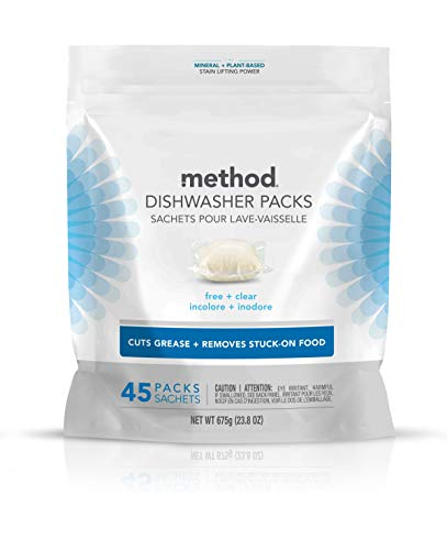 Method Power Dish Dishwasher Soap Packs, Free + Clear, 45 Count (Pack of 1) (Package may vary)