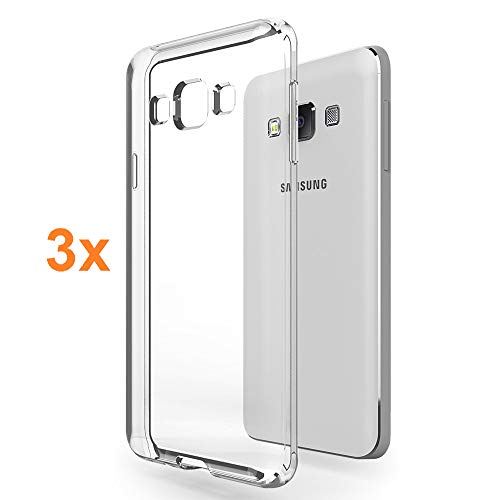 REY Pack 3X Cover in Gel TPU Trasparente per Samsung Galaxy A3 2015, Ultra Sottile 0,33 mm, Morbido Flessibile, Custodia Silicone