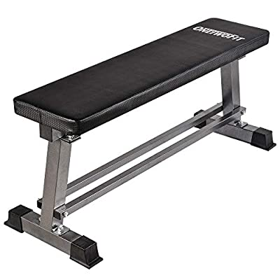 ONETWOFIT Flat Weight Bench Dumbbell Training Weightlifting Bench Lifting and Ab Workout with Dumbbell Rack 660lbs Capacity OT070 by OneTwoFit