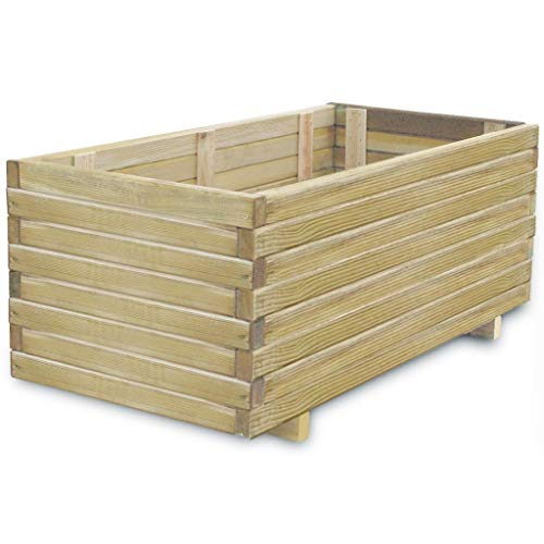 vidaXL Raised Bed 100x50x40cm Wood Rectangular Garden Flower Pot Bed Basket