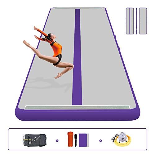Sinolodo Air Tumbling Track - para Entrenamiento de Gimnasia, Playa, Agua, Uso doméstico, Longitud 118 Pulgadas, 16'x3.3'x4''/5x1x0.1m, B-Púrpura