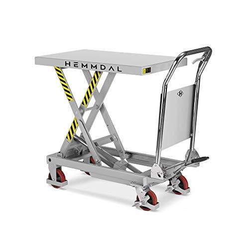 Scherenhubtischwagen Hemmdal PRO | Hubtisch fahrbar | Tragkraft 300 kg | Geräuscharme Räder | Hubtischwagen 850 x 500 mm | Hubhöhe 880 mm