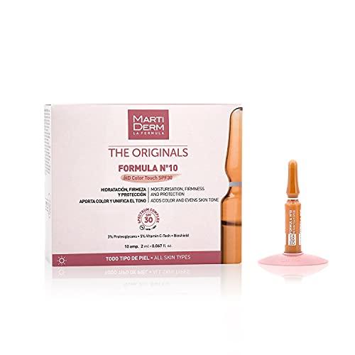 MARTIDERM Formula Nº10 | Hd Color Touch | Spf 30 | Hidratante, Antioxidante Y Reafirmante | 10 Ampollas, color Blanco, M, 200 g