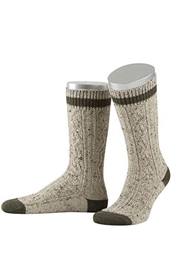 Lusana Herren Trachten-Schopper-Socke braun mit B& braun, 211-BRAUN MEL./BRAUN (braun), 46/47